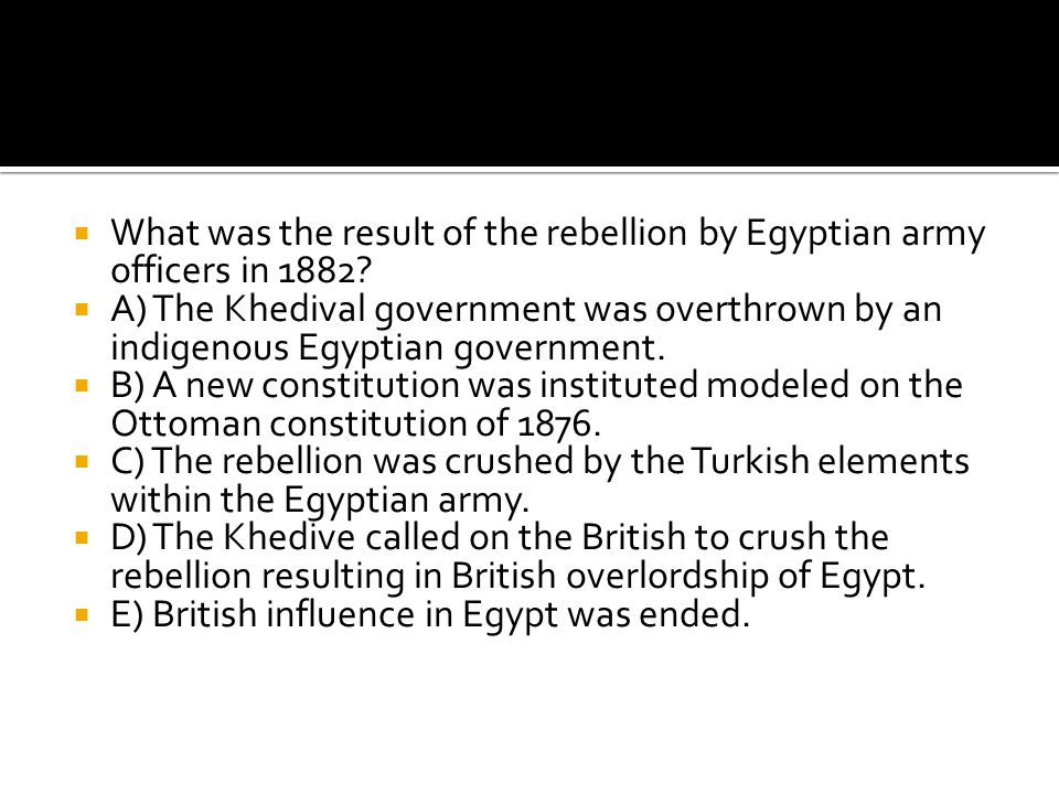 What was the result of the rebellion by Egyptian army officers in 1882