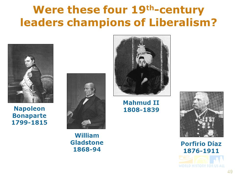 Were these four 19th-century leaders champions of Liberalism