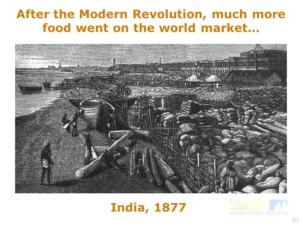 After the Modern Revolution, much more food went on the world market…