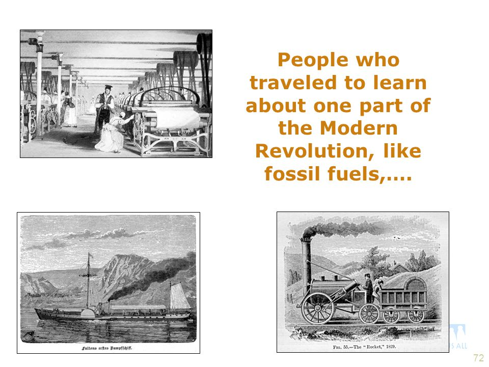 People who traveled to learn about one part of the Modern Revolution, like fossil fuels,….