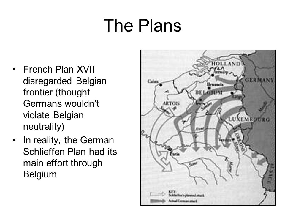 The Plans French Plan XVII disregarded Belgian frontier (thought Germans wouldn't violate Belgian neutrality)