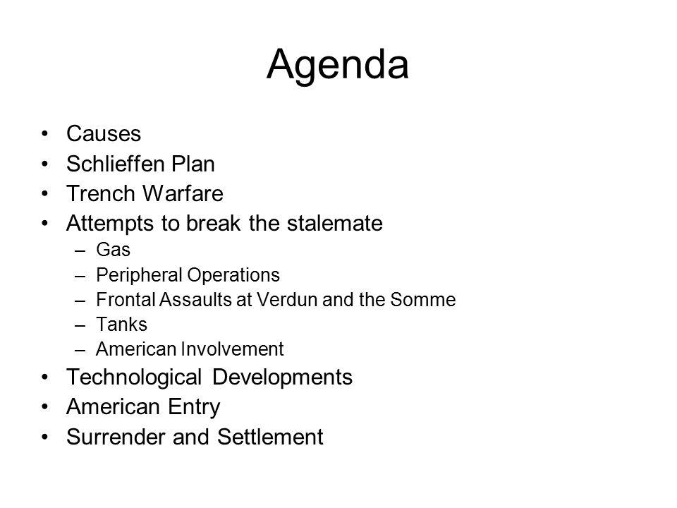 Agenda Causes Schlieffen Plan Trench Warfare