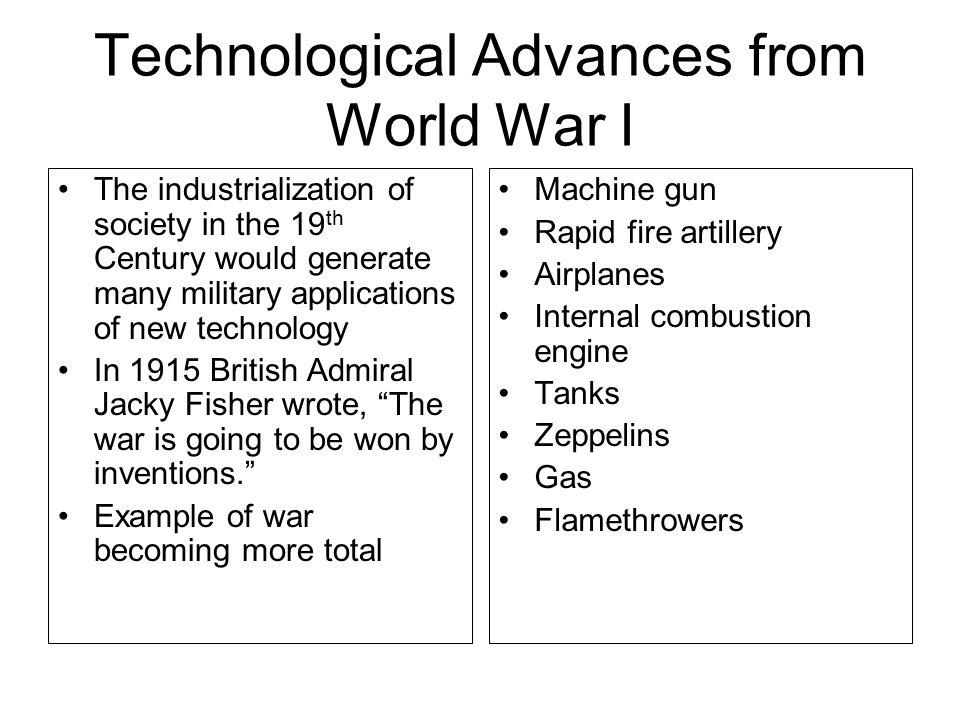 Technological Advances from World War I