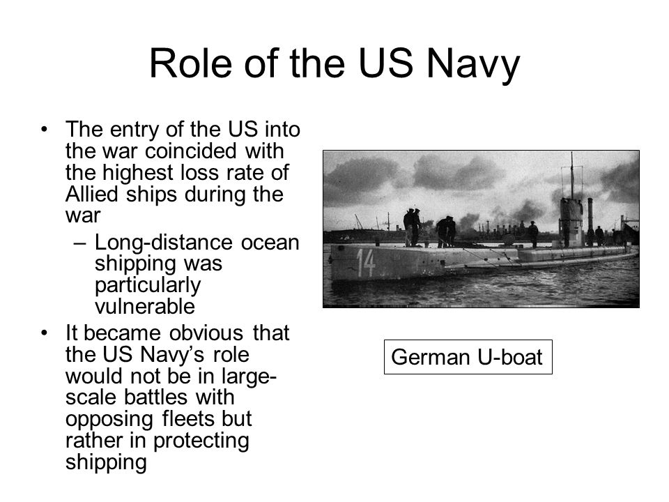 Role of the US Navy The entry of the US into the war coincided with the highest loss rate of Allied ships during the war.