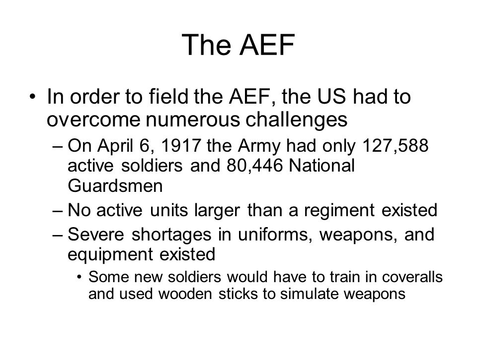 The AEF In order to field the AEF, the US had to overcome numerous challenges.