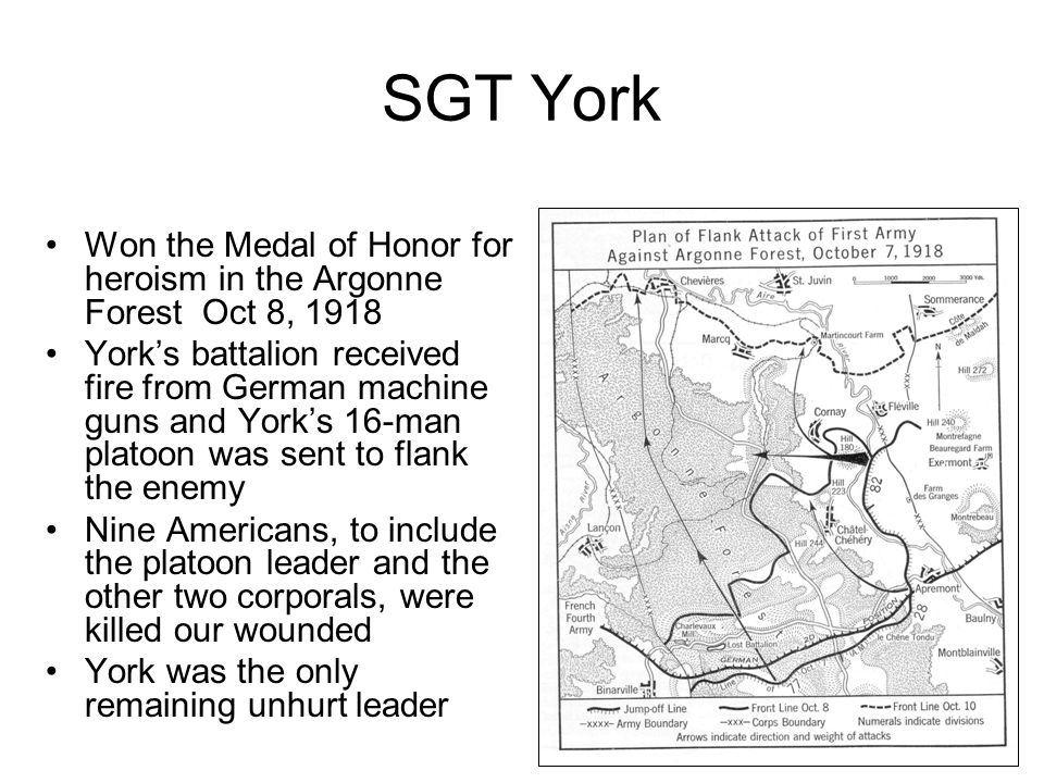 SGT York Won the Medal of Honor for heroism in the Argonne Forest Oct 8, 1918.