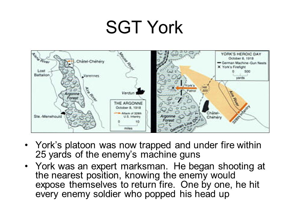 SGT York York's platoon was now trapped and under fire within 25 yards of the enemy's machine guns.