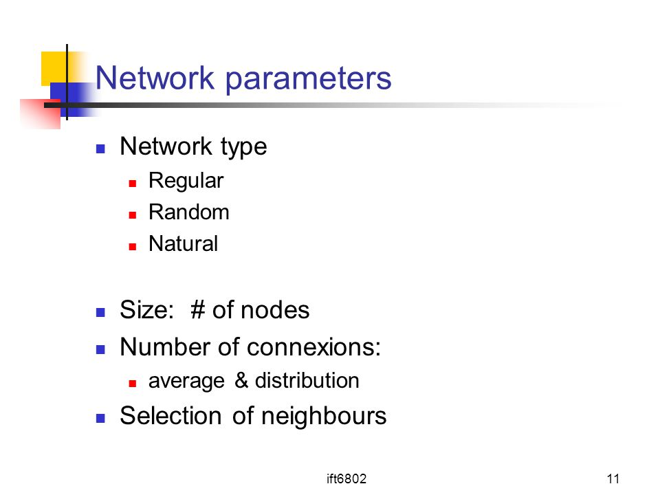 Network parameters Network type Size: # of nodes Number of connexions: