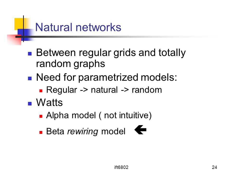 Natural networks Between regular grids and totally random graphs