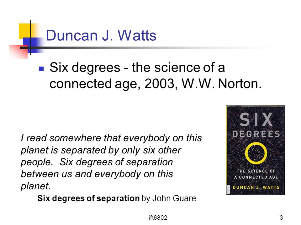 Duncan J. Watts Six degrees - the science of a connected age, 2003, W.W. Norton.