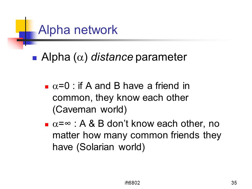 Alpha network Alpha () distance parameter