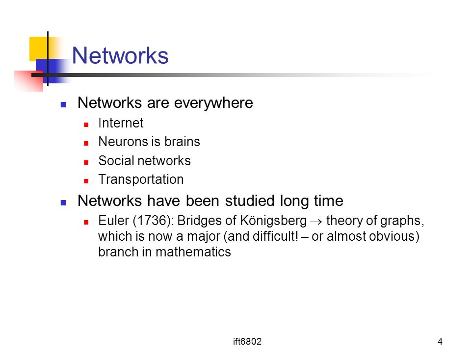 Networks Networks are everywhere Networks have been studied long time