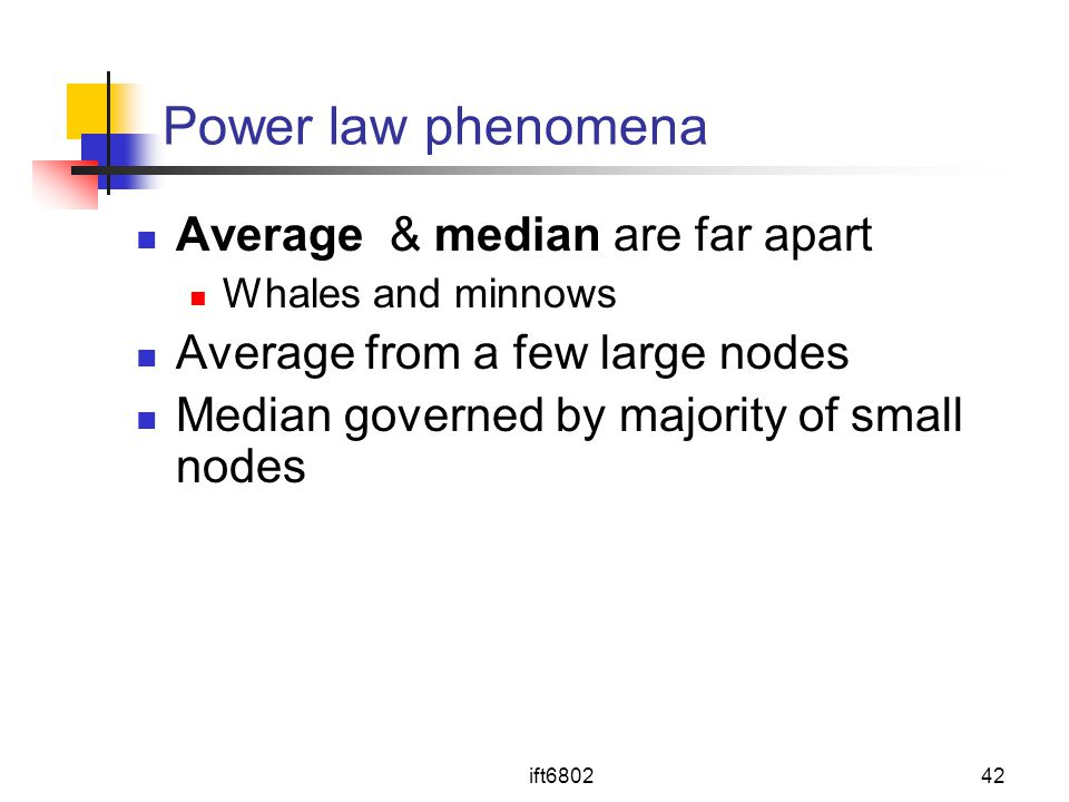 Power law phenomena Average & median are far apart