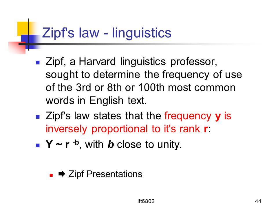 Zipf s law - linguistics