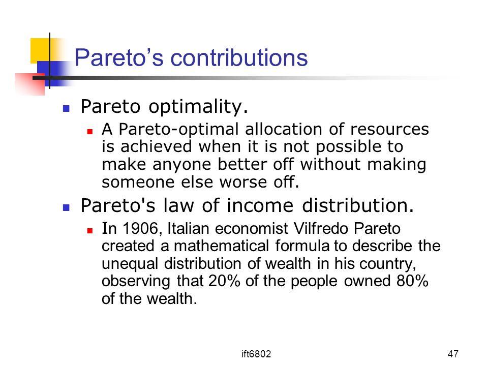 Pareto's contributions