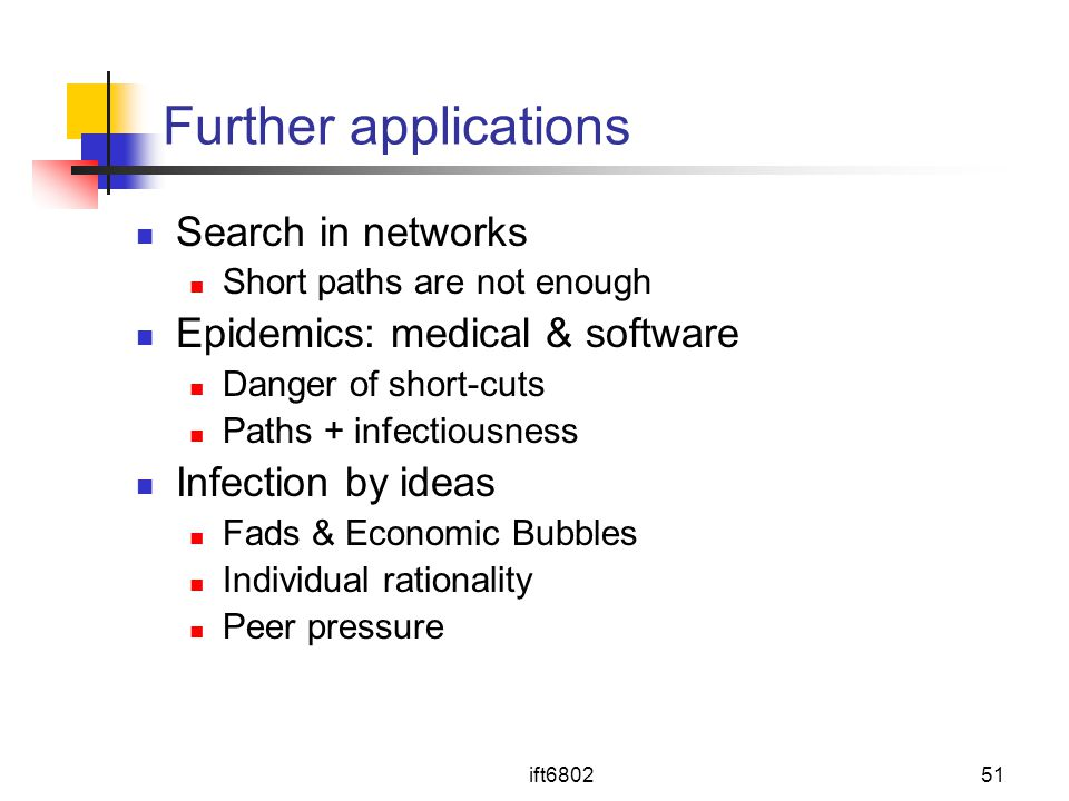 Further applications Search in networks Epidemics: medical & software
