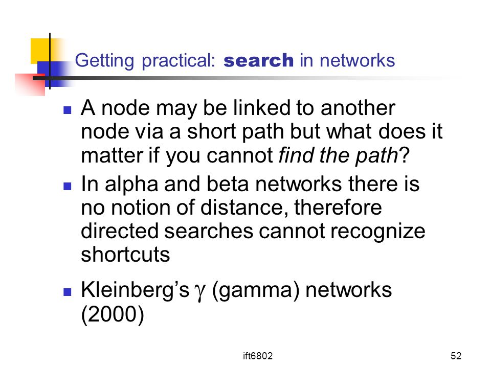 Getting practical: search in networks