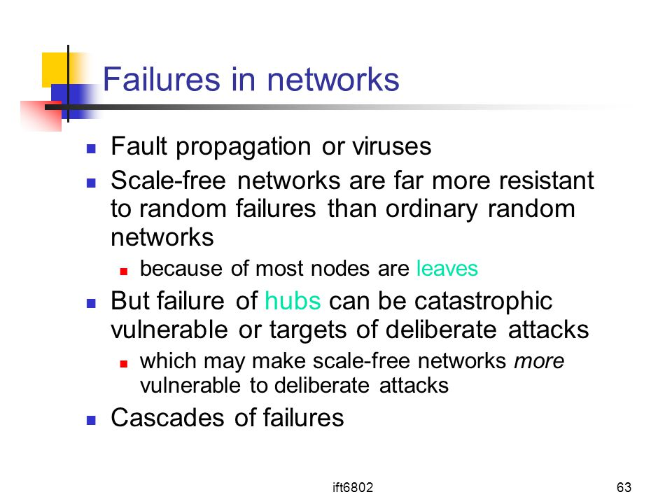 Failures in networks Fault propagation or viruses