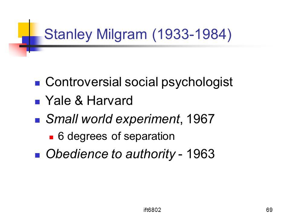 Stanley Milgram (1933-1984) Controversial social psychologist