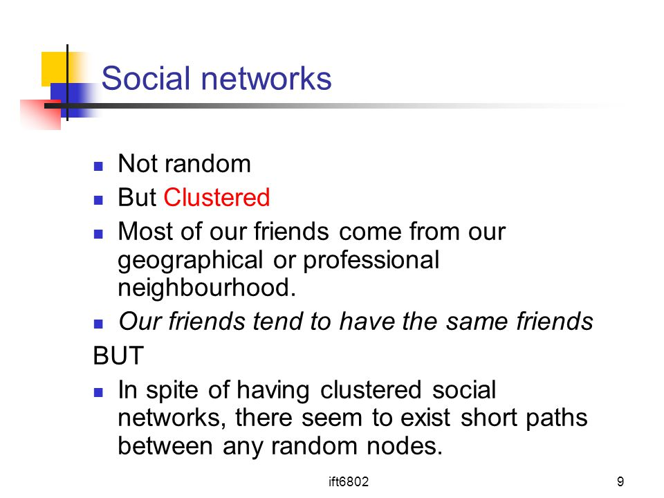 Social networks Not random But Clustered