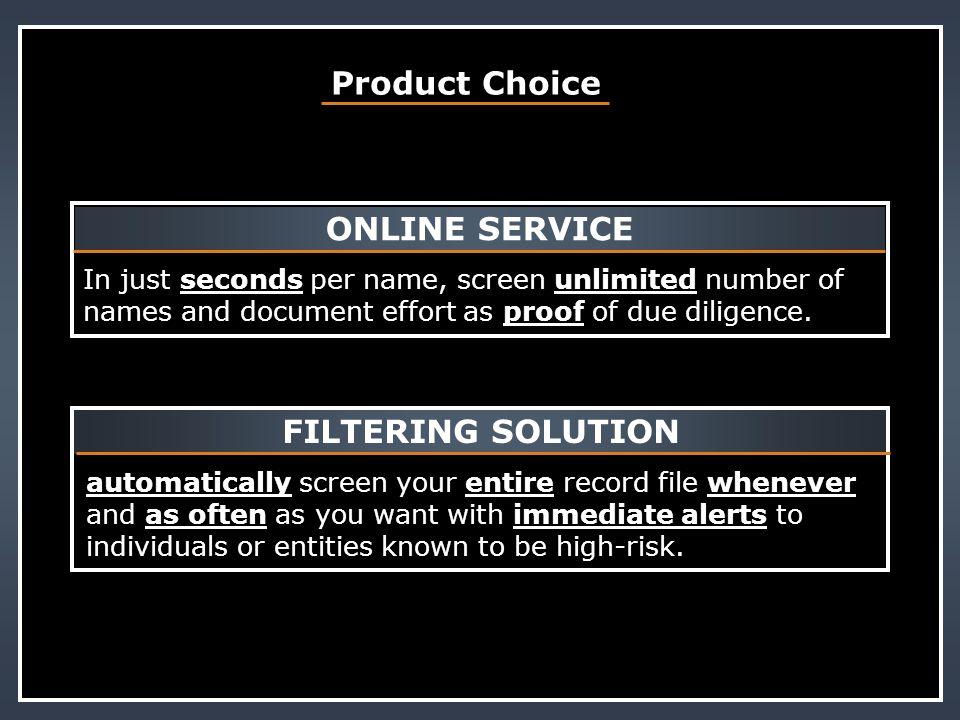 ONLINE SERVICE FILTERING SOLUTION