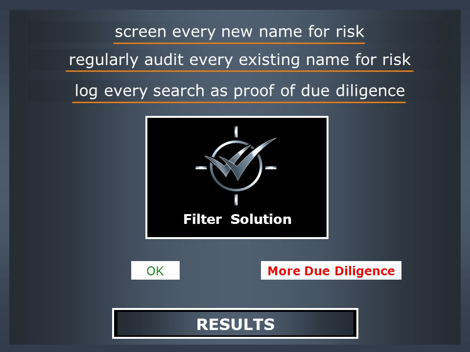 screen every new name for risk