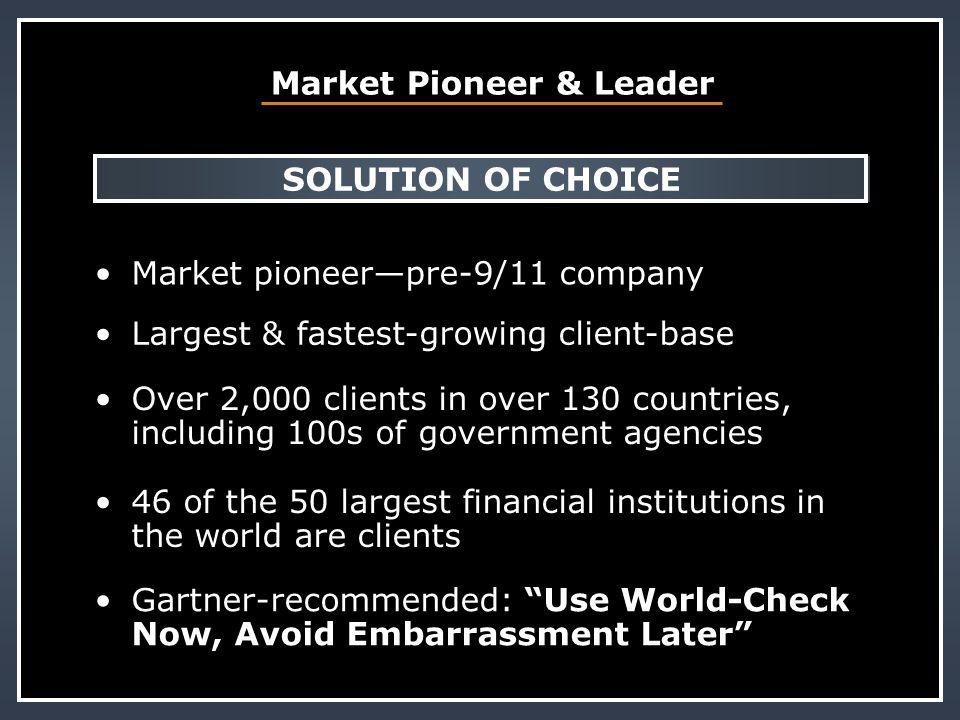 Market Pioneer & Leader