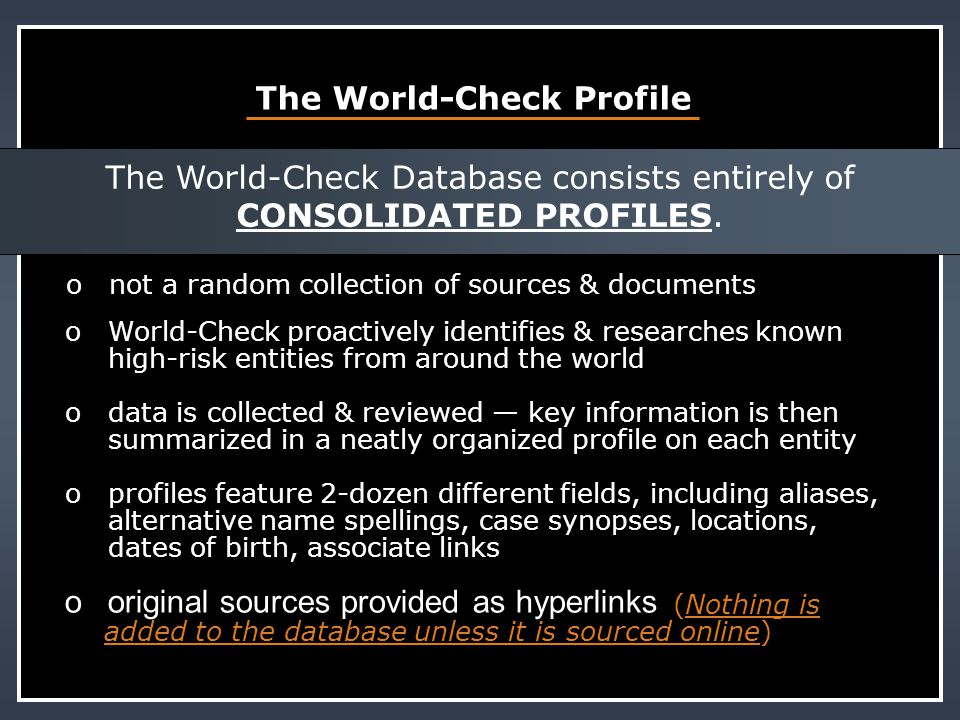 The World-Check Profile