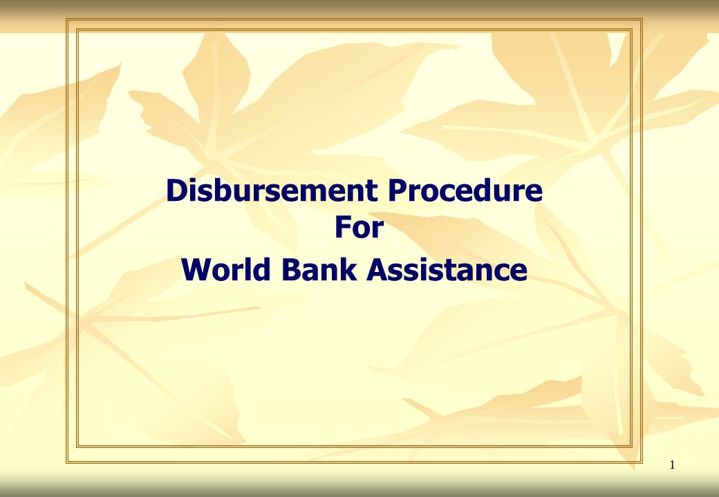 Disbursement Procedure