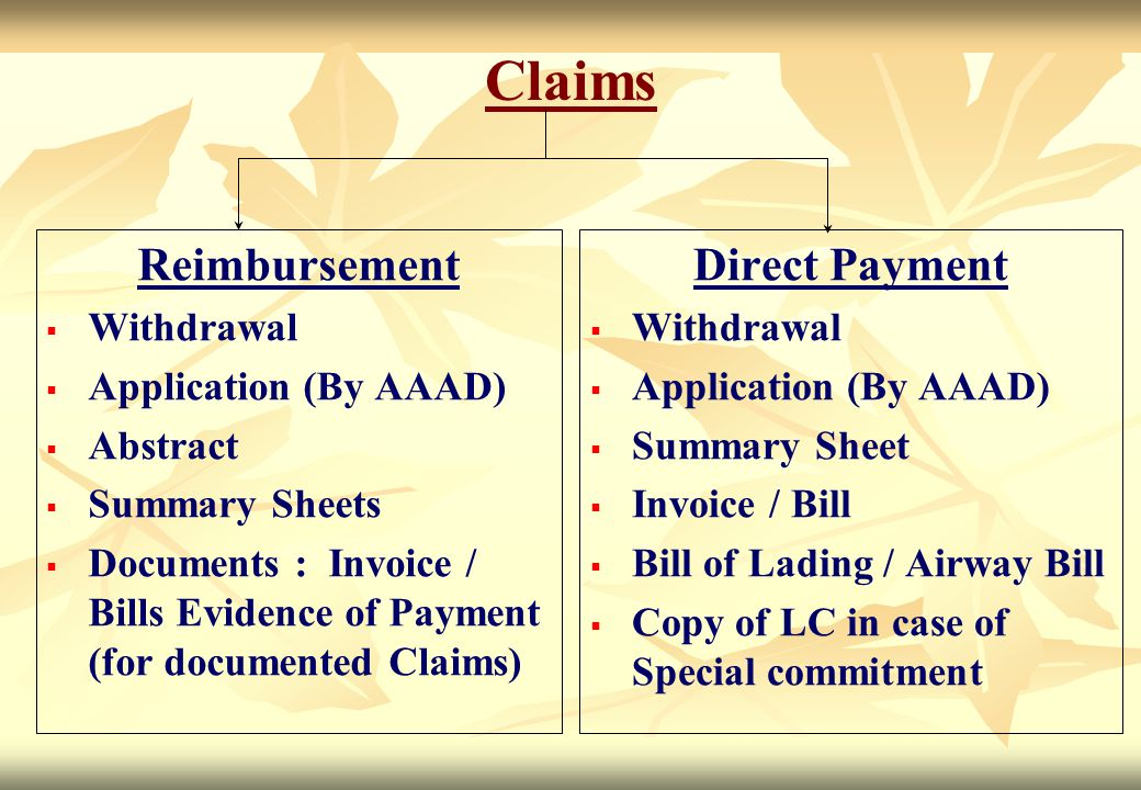 Claims Reimbursement Direct Payment Withdrawal Application (By AAAD)
