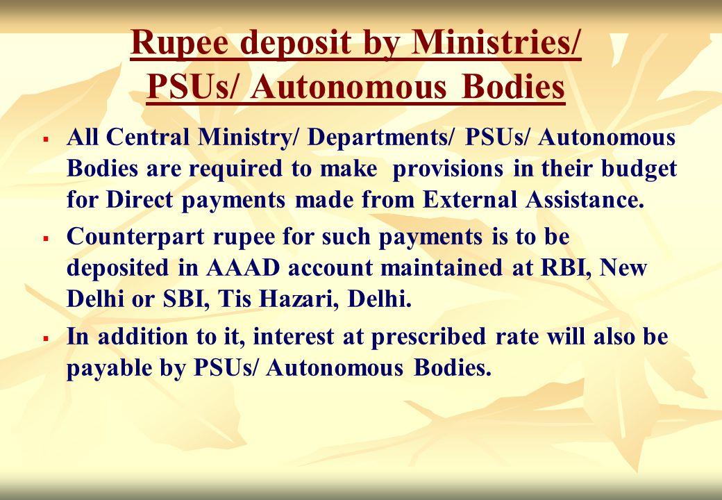 Rupee deposit by Ministries/ PSUs/ Autonomous Bodies