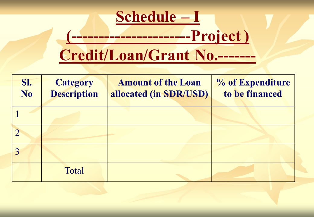 Schedule – I (----------------------Project ) Credit/Loan/Grant No