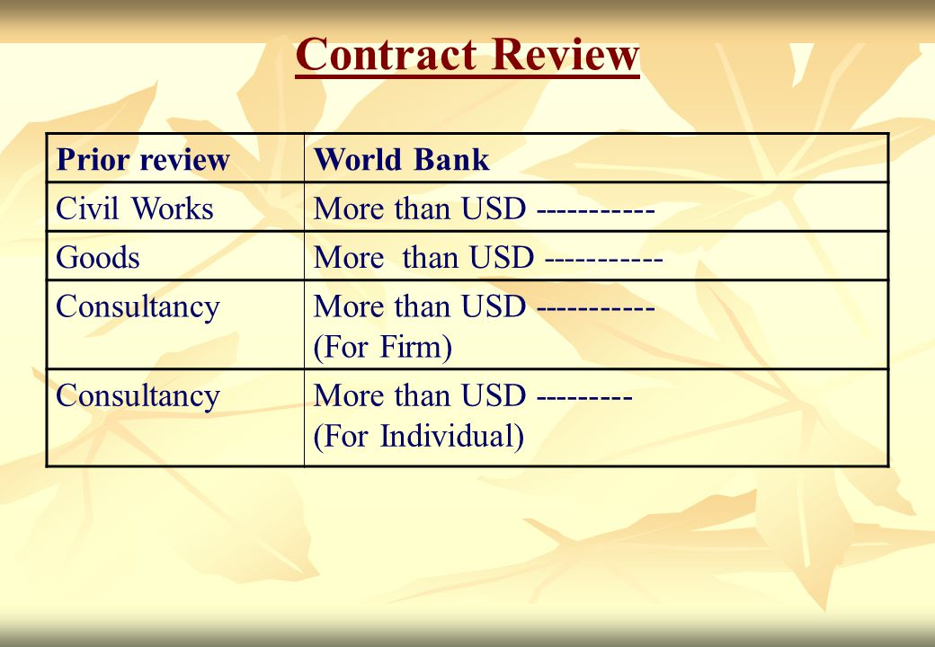 Contract Review Prior review World Bank Civil Works
