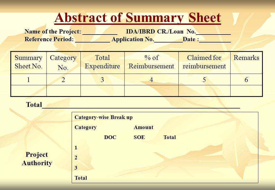 Abstract of Summary Sheet