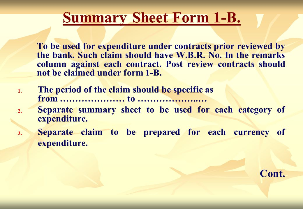 Summary Sheet Form 1-B. Cont.