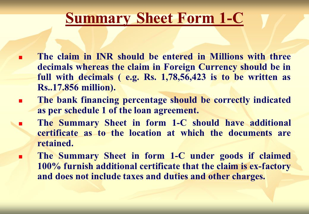 Summary Sheet Form 1-C