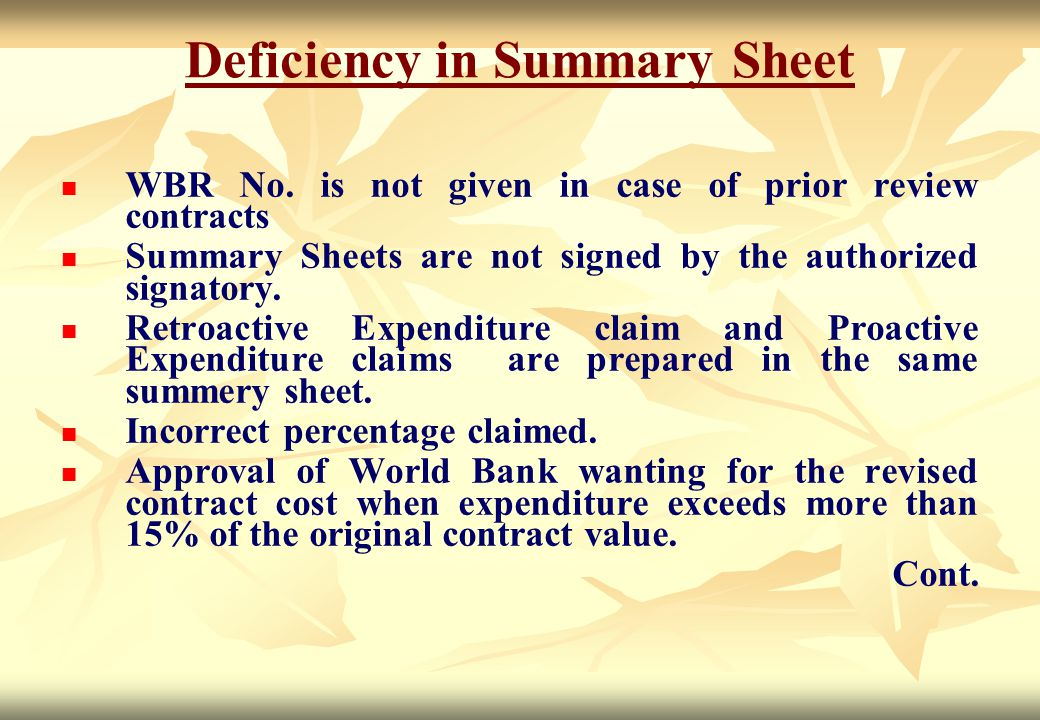 Deficiency in Summary Sheet