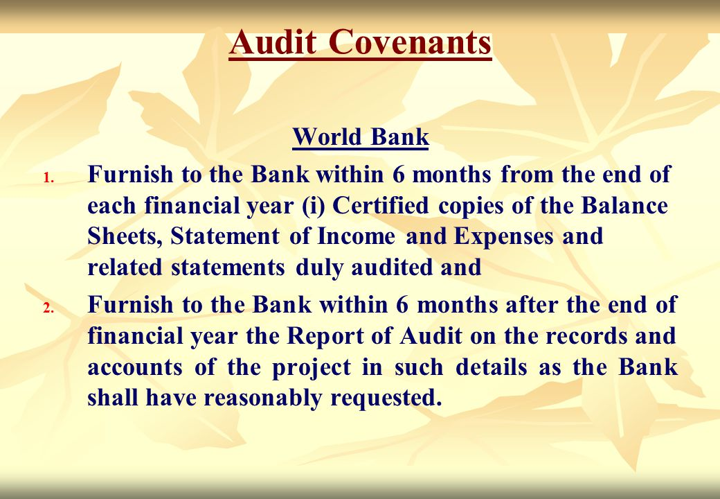 Audit Covenants World Bank