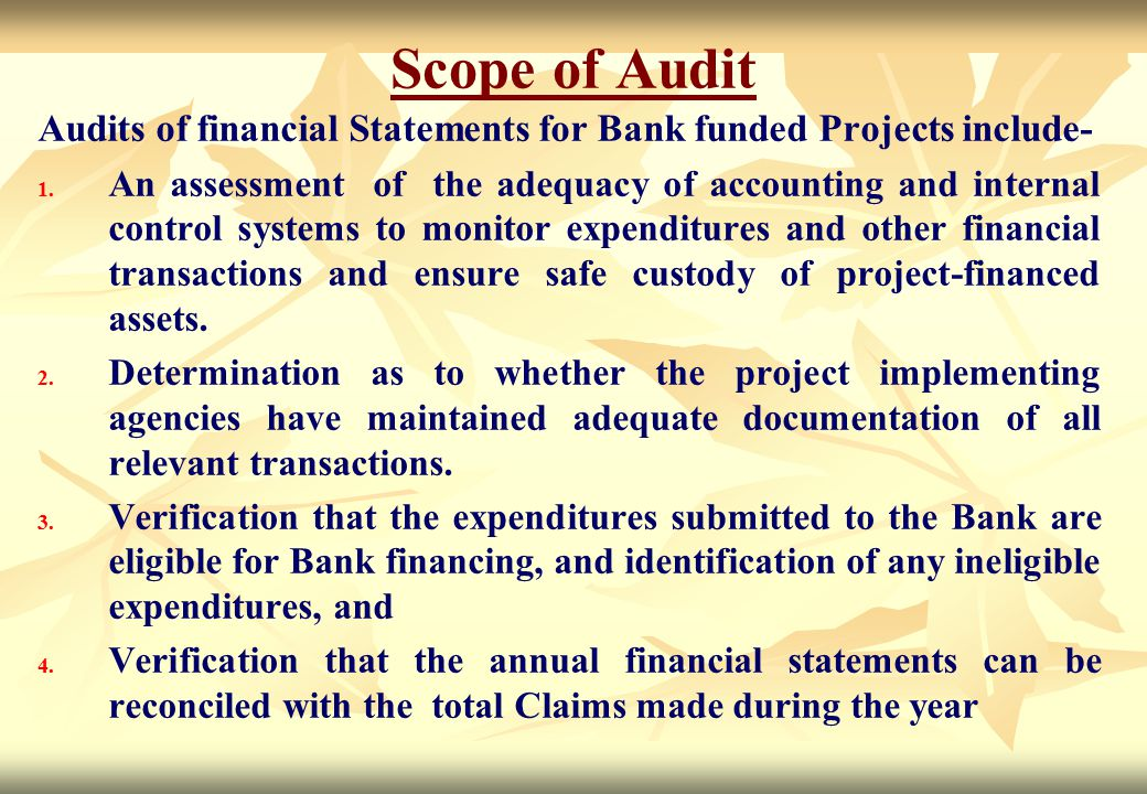 Scope of Audit Audits of financial Statements for Bank funded Projects include-