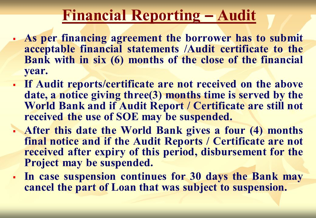 Financial Reporting – Audit