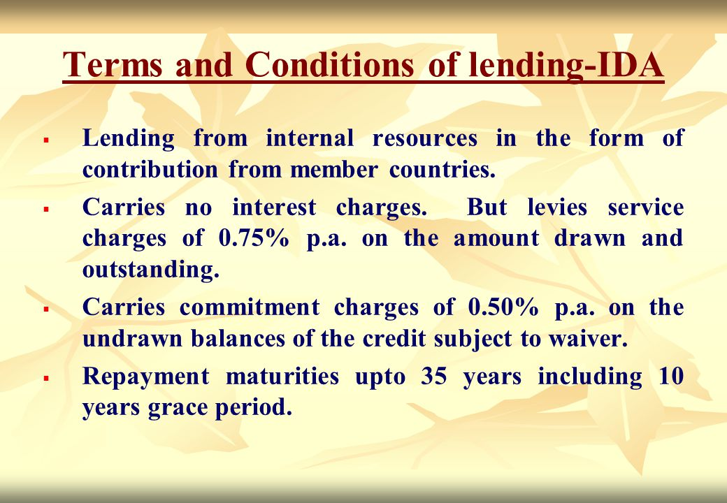 Terms and Conditions of lending-IDA
