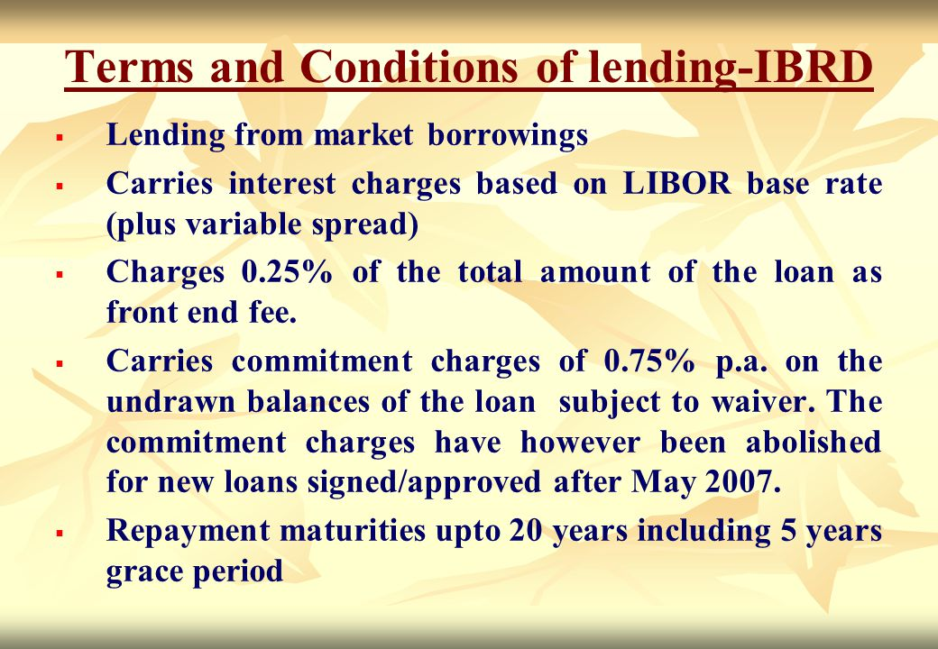 Terms and Conditions of lending-IBRD