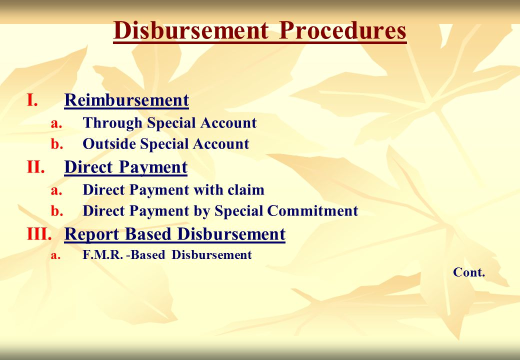 Disbursement Procedures