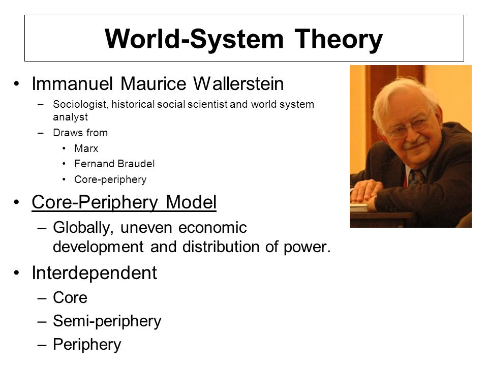 World-System Theory Immanuel Maurice Wallerstein Core-Periphery Model