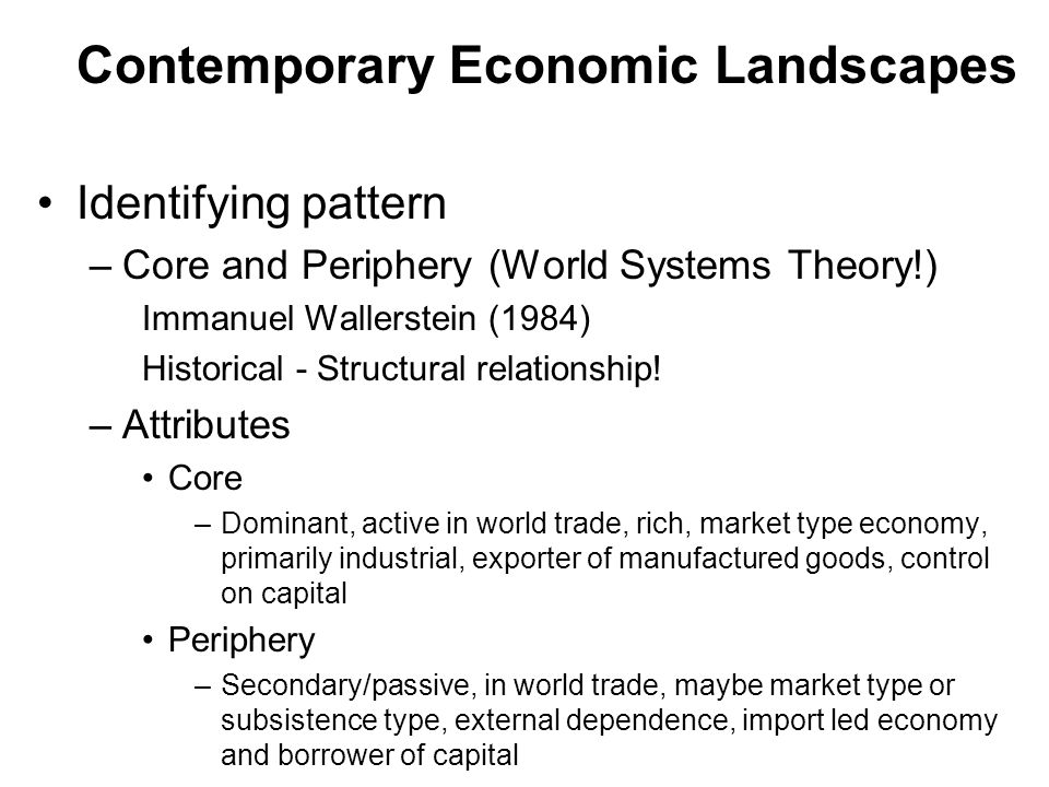Contemporary Economic Landscapes Identifying pattern