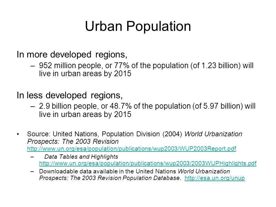 Urban Population In more developed regions, In less developed regions,