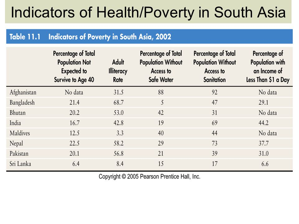 Indicators of Health/Poverty in South Asia