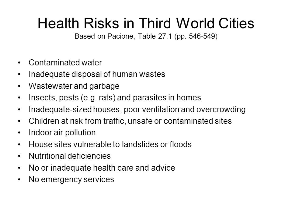 Health Risks in Third World Cities Based on Pacione, Table 27. 1 (pp