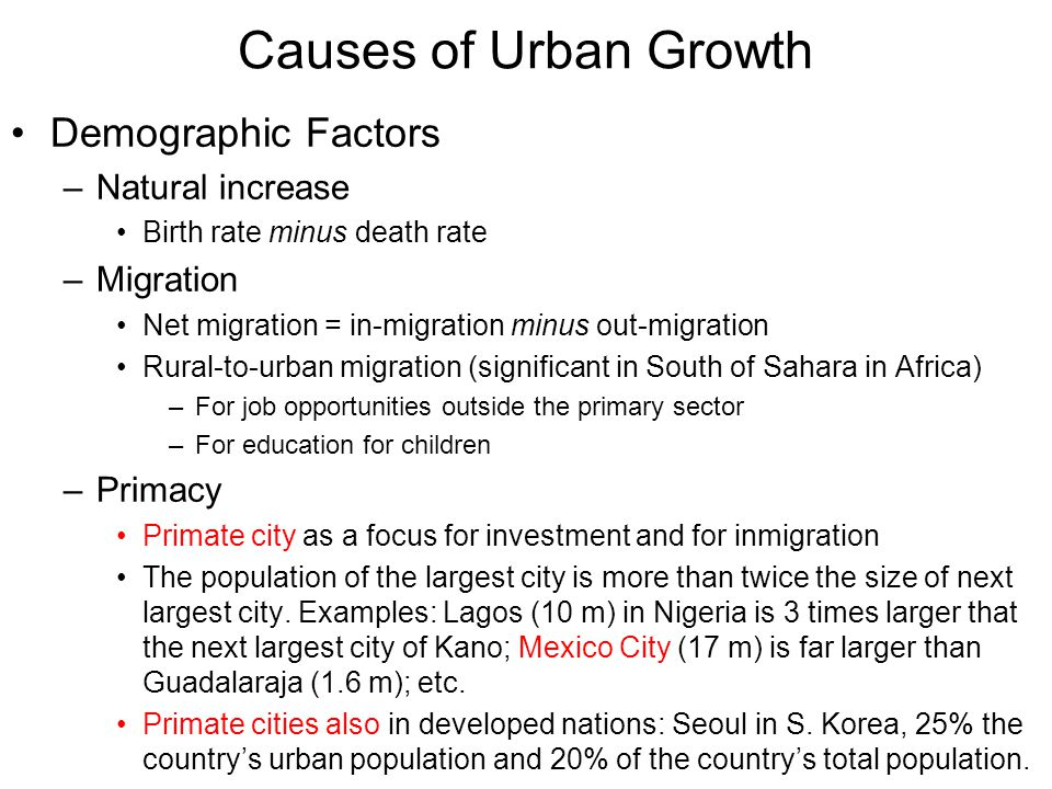Causes of Urban Growth Demographic Factors Natural increase Migration