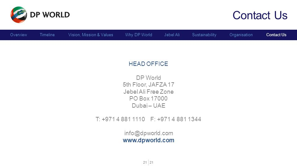 Contact Us HEAD OFFICE DP World 5th Floor, JAFZA 17